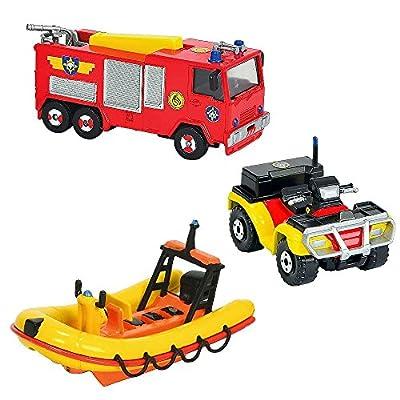 Feuerwehrmann Sam - Mini Die Cast Serie - Set Fahrzeuge Jupiter, Neptun, Quad
