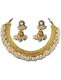 Jewels Galaxy Golden Alloy Contemporary Necklace Set