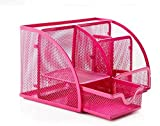 PAG Steel Mesh Desk Organizer Office Supplies Pen Holder (6-part Pink)