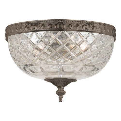117-10-EB Richmond 3LT Flush Mount, English Bronze Finish with Clear Cut Glass Shade