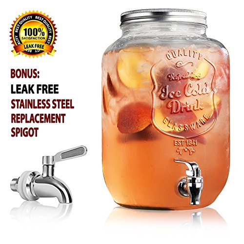 Durable Clear Glass Mason Jar Ice Tea Beverage Dispenser with Screw On Lid - 2 Gallon Capacity - Stainless Steel Leak Free Spigot Included - Home Bar & Sun Tea Beverage Server ('Ice Cold Drink' Clear) (Sun Tea Spigot compare prices)