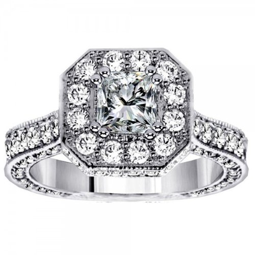 3.64 CT Princess Cut Designer Engagement Ring