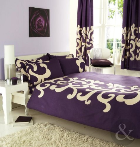 COMPLETE BEDROOM SET Luxury Cotton Blend Duvet Quilt Cover & Curtains Bed Sets Purple ( cream aubergine plum ) King size Bedding & Curtain Set