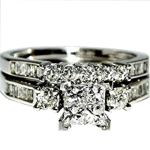 White Gold Diamond Bridal Set Wedding Rings .9ct Just Under 1ct Princess White Gold