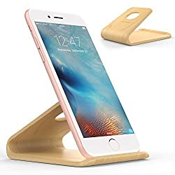 MoKo Wooden Cell Phone Stand, Natural Wood Smartphone Holder for Apple iPhone 6s / 6s Plus, Samsung Galaxy S4 / S5 / S6 / S6 Edge / Note 4, Google Nexus 6 / 5, Nokia, HTC, LG and More, Birch Color