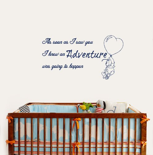 Housewares Vinyl Decal Winnie The Pooh Quote Adventure Happen Home Wall Art Decor Removable Stylish Sticker Mural Unique Design For Room Baby Kid Nursery front-152731