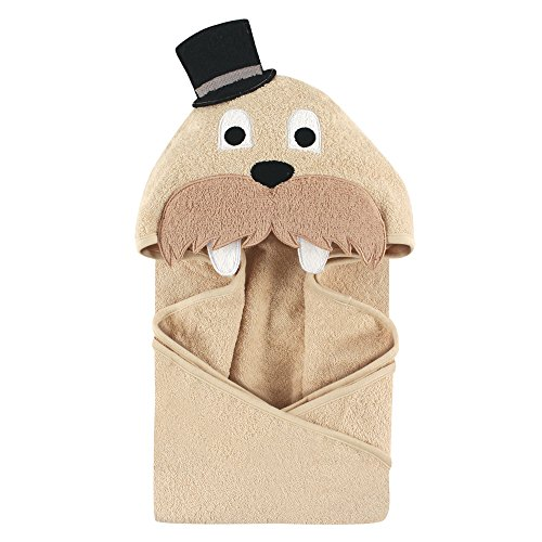 Hudson Baby Animal Face Hooded Towel, Classy Walrus