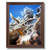 Pegasus Magical Flight Kids Room Fantasy Home Decor Wall Picture Cherry Framed Art Print