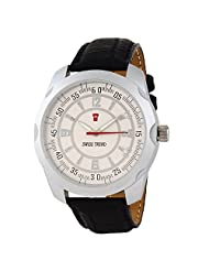 Swiss Trend Stylish Mens Watch With Black Genuine Leatther Strap And White Dial(Artshai1653)