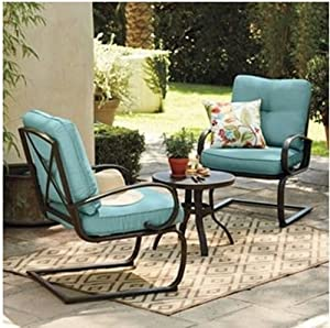 3 Pc Metal Patio Table And Chairs Set W Blue Cushions All
