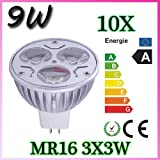 High Power Overclocking 9W MR16 LED Warm White Light Bulb Energy Saving light(10pieces)