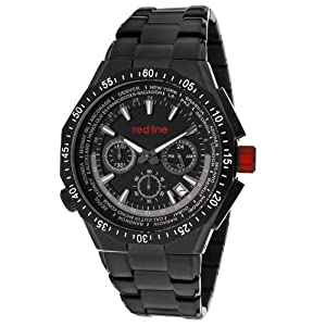 red line Men's RL-50029VD-BB-11W Travel Chronograph Black Dial Black Ion-Plated Stainless Steel Watch