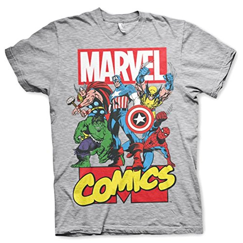 Ufficiale Mens Marvel Comics Supereroi Collage Comic Stampa Grigio T-shirt (XL)