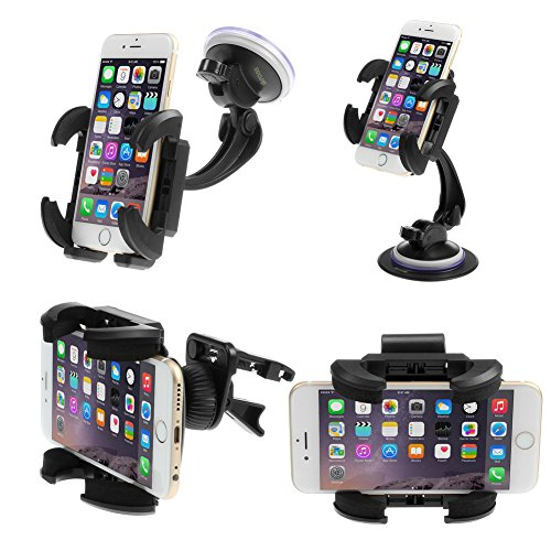 Ikross 4-In-1 Universal Windshield / Dashboard / Sun Visor / Air Vent Car Mount Holder Kit - Black For Iphone 6 / 6 Plus / 5S, Lg G3, G2, Motorola Moto E, Moto X, Moto G Droid Mini, Droid Maxx, Samsung Galaxy S5 S V, Galaxy Note Edge / 4 / 3 And More
