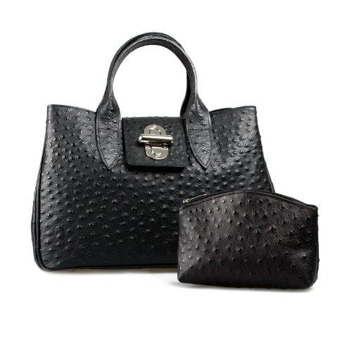 Billiger Geschenkset ital Ledertasche Henkeltasche schwarz kroko + passende Kosmetiktasche Leder top Design schwarz Kroko , 36,5x24x18 cm