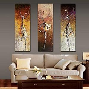 Ballet Dancer Painting 3 Piece Wall Art Group Painting Canvas Art Modern Art 100% Hand Painted Art Abstract Art (Unframed and Unstretched)