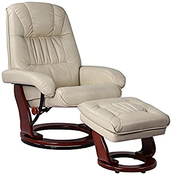 Kyle Vanilla Faux Leather Ottoman and Swiveling Recliner
