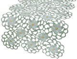 Xia Home Fashions Daisy Splendor Embroidered Cutwork Spring Table Runner, 15 by 54-Inch, Green