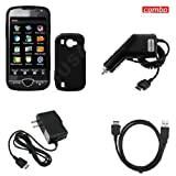 Samsung Omnia2 i920 Combo Solid Black Silicon Skin Case Faceplate Cover + USB Data Charge Sync Cable + Rapid Car Charger + Home Wall Charger for Samsung Omnia2 i920