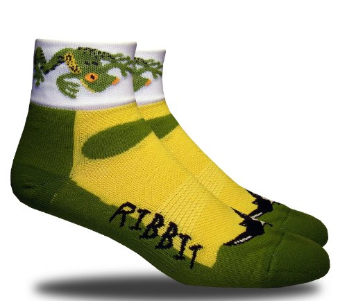 RHINO SOCKS SS series, Ribbit, green/black, anklet sports cycling biking hiking running socks