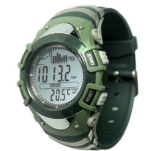 Generic Unique Design Multifunctional Fishing Water Resist Watch With Storm Alarm,Altimeter,Barometer,Thermometer,Weather Forecast,Stopwatch Military Green