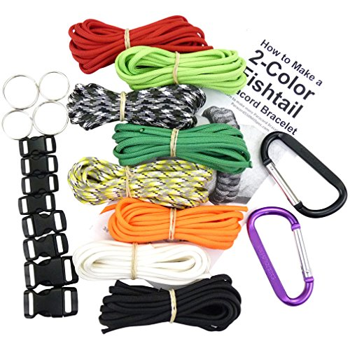 Happy Zombie Bracelet Kit - 550 Paracord, Buckles, Carabiners, Key Rings, Written Instructions & eBook. Made in U.S.A. 8 Colors Paracord = 80 Ft.