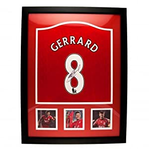 Liverpool F.C. Gerrard Signed Shirt (Framed)- Steven Gerrard replica 2011/12 Liverpool shirt- hand signed on the number- photographic certificate of authenticity- fully framed for display- approx 86cm x 66cm- official licensed product by Signed Memorabili