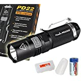 Fenix PD22 Ultimate Edition 510 Lumens Cree XP-L LED Compact Tactical Flashlight w/ Diffuser, Tenergey CR123A and a Lumen Tactical Battery Organizer