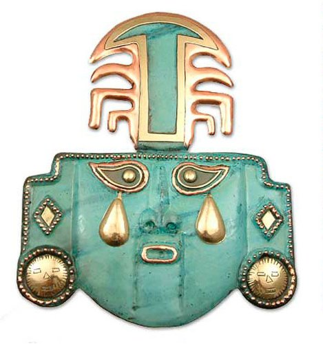 NOVICA Decorative Inca Copper and Bronze Mask, Green, 'Tears Of A God'