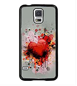 Fuson Premium 2D Back Case Cover Loving Heart With Blue Background Degined For Samsung Galaxy S5 Mini::Samsung Galaxy S5 Mini G800F