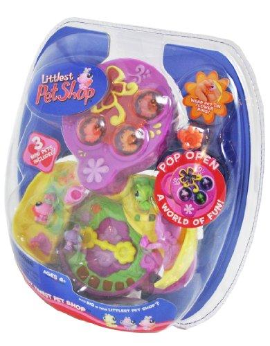 Buy Low Price Hasbro Littlest Pet Shop LPS Year 2006 Teeniest Tiniest Series Mini Pet Figure Set with 2 Butterfly Mini Figures, 1 Caterpillar Mini Figure, 1 Flower Ring and Pop Open Flower Garden Case (B004BIUWP0)