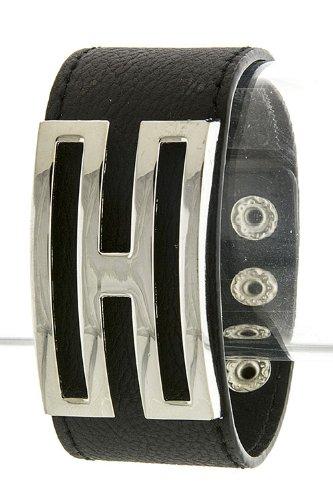 The Jewel Rack H Letter Wrap Bracelet (Black/Silver)