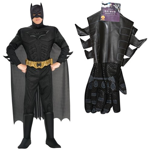 Batman The Dark Knight Rises Muscle Chest Deluxe Adult Costume (M) and Gauntlets