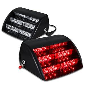 18 red led law enforcement use strobe lights for interior roof dash windshield. Black Bedroom Furniture Sets. Home Design Ideas