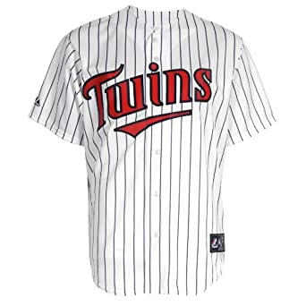 MLB Minnesota Twins Jim Thome White Navy Home Short Sleeve 6 Button Synthetic Replica... by Majestic