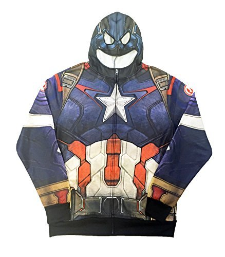 Marvel Avengers Men's Captain America Hoodie Graphic Jacket (Large) (Captain America Hoodies For Men compare prices)