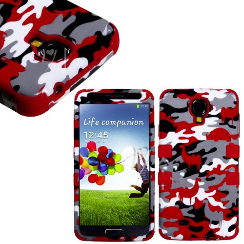 myLife (TM) Red - Desert Camouflage Design (3 Piece Hybrid) Hard and Soft Case for the Samsung Galaxy S4