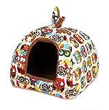 Yihiro ペットハウス 猫 犬用 秋冬 暖かい室内 2WAY 底に敷く クッション付き ふわふわ 快適 ぐっすり眠る ペットベッド (M(40*40*38cm), オレンジ)