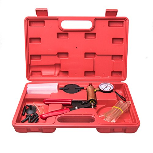 Hand Held Vacuum Pump Tester Set Vacuum Gauge and Brake Bleeder Kit for Automotive with Adapters, Case (Vacuum Hose Kit Automotive compare prices)