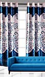 "India Furnish New Collection : Beautiful Panel Design Turquoise Color Eyelet Polyester Curtain Door Length (Set of 2 Pcs) 84""x48"""