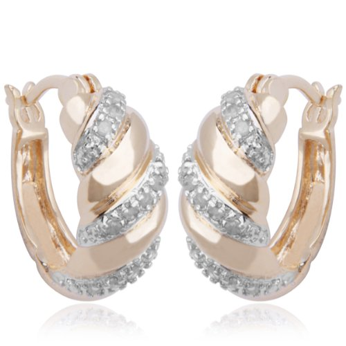 18k Yellow Gold Plated Sterling Silver Genuine Diamond Twisted Hoop Earrings