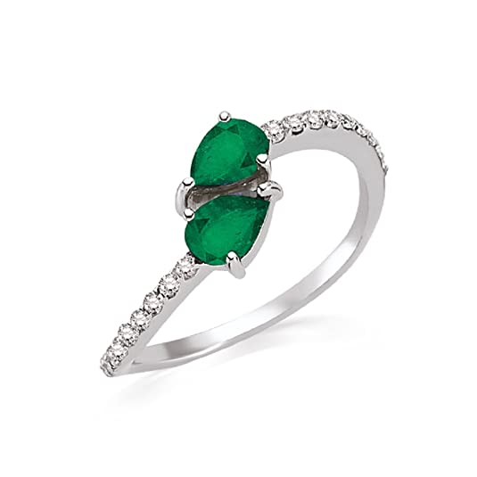 0.99 Carats 18k Solid White Gold Emerald and Diamond Engagement Wedding Bridal Promise Ring Band