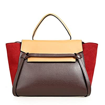 Emio Womens Designer Genuine Leather Celebrity Style Color Blocked Belt Bag Handbags Handbags Satchel Tote Bags Purse