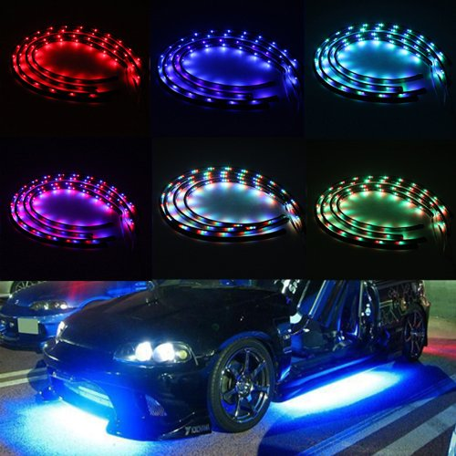 "Image® 7 Color 4Pcs Led Under Car Glow Underbody System Neon Lights Kit Strip With Wireless Remote Control 2 X 48"" & 2 X 36"""
