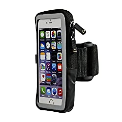 Gear Beast Slim Case Compatible Running Sports Armband with Key Holder ID Slot Enhanced Screen Protector Zippered Pouch for iPhone 6s Plus / 6 Plus, Galaxy Note 5 / S7 Edge & More
