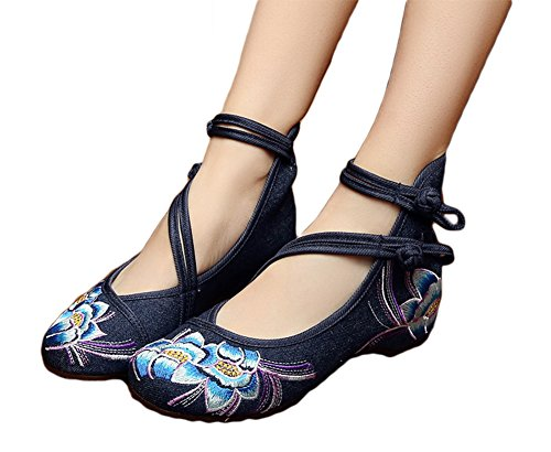 AvaCostume Womens Embroidery Rubber Sole Summer Wedges Sandals Fashion Dress Shoes for Cheongsam, Blue, 39