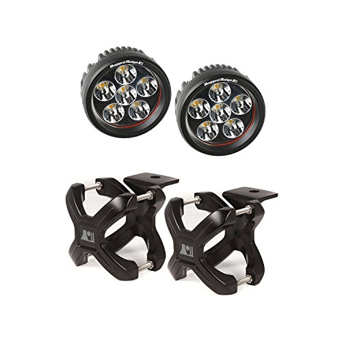 Rugged Ridge (15210.25) Black Small 2-Piece X-Clamp And Round Led Light Kit