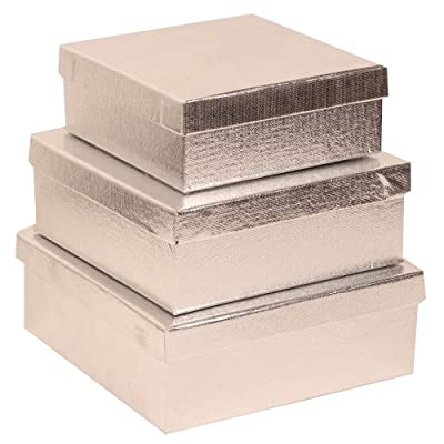 Silver Square Gift Box Nesting Set - Set of 3 Silver Foil Boxes