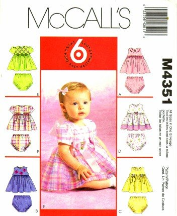 Mccall'S 4351 Sewing Pattern Infants Baby Dress Panties front-881727