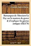 img - for Remarques de Monsieur Le Hay Sur La Maniere de Graver D'Expliquer Les Pierres Antiques (French Edition) book / textbook / text book